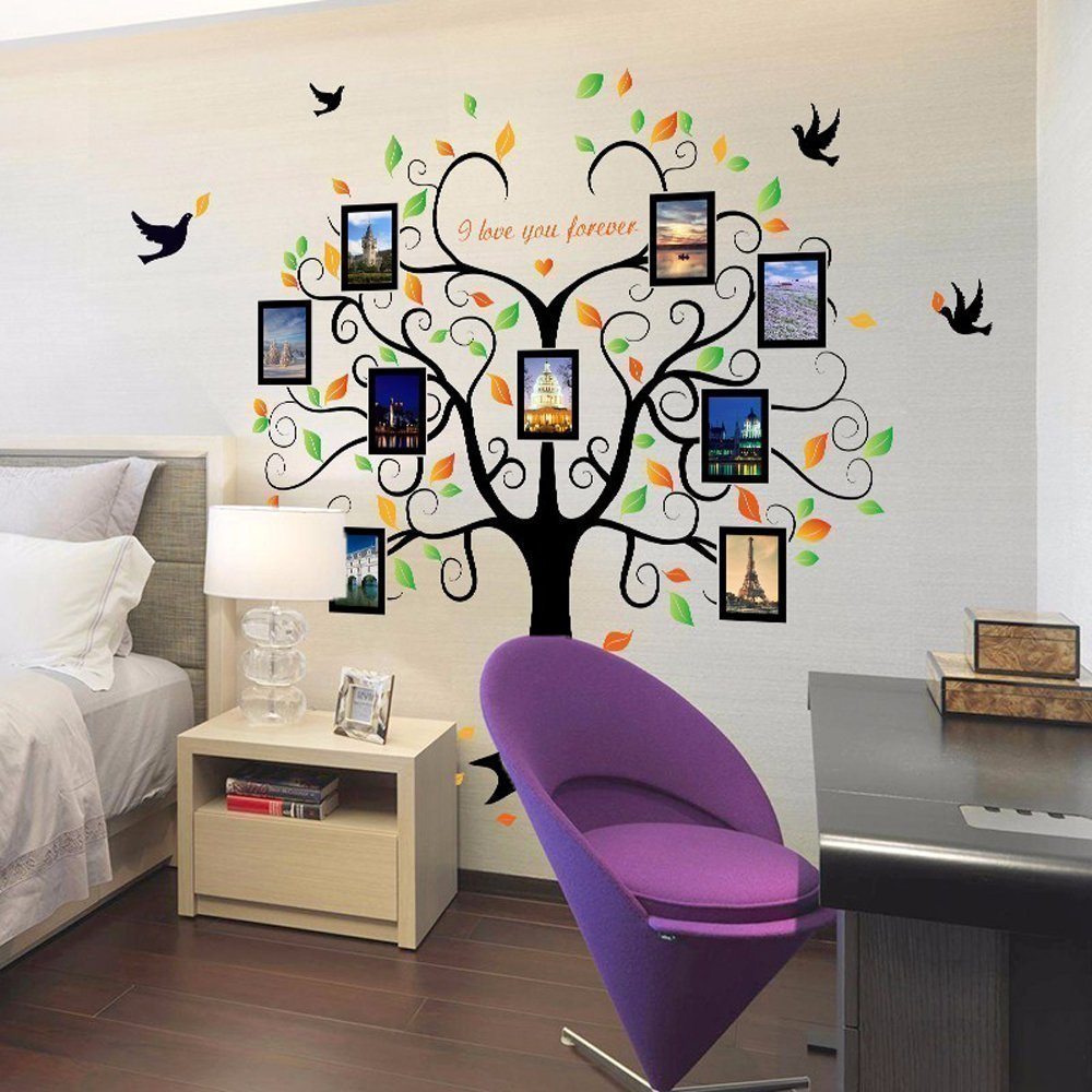 Family Tree Wall Decal - 9 Large Photo Picture Frames - Peel and Stick Wall Decal - Best Removable Wall Decal for Living Room, Bedroom, Kids Rooms, Mural Decor - 80'' Wide x 63'' Tall by GoGoDecal (Image #3)