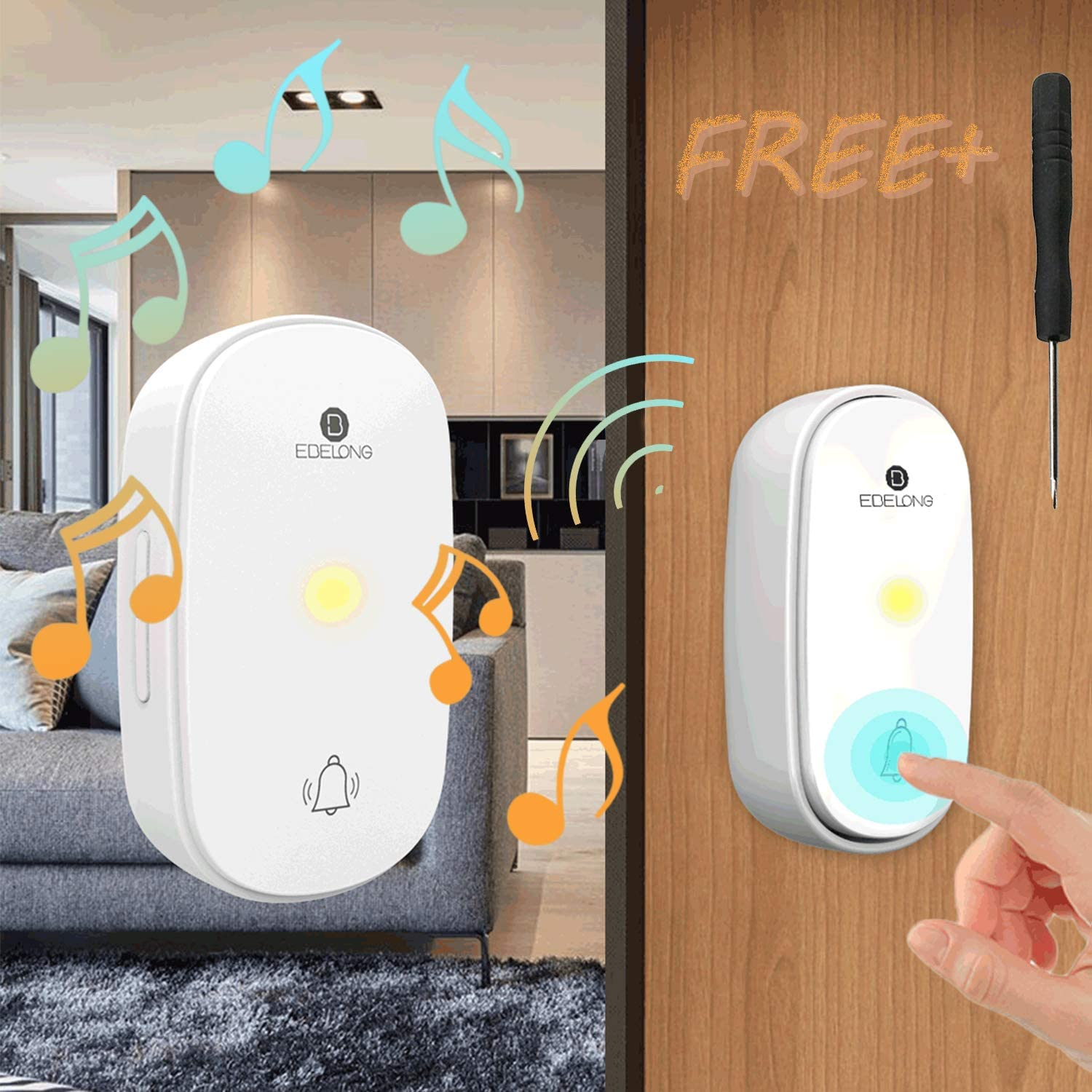 IPV4 Wireless Doorbell Kit, Windproof, Waterproof and Dustproof, Battery-free Remote Control Doorbell, 38 Ringtones and 4 Levels of Volume, Suitable for Home/Apartment/Office/Classroom Use (White)