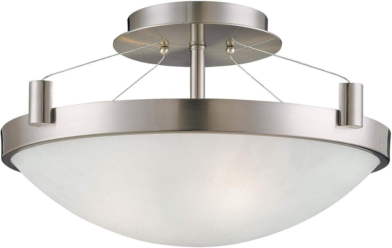 Suspended 3 Light Semi Flush Mount Grey Modern Contemporary Steel