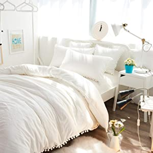 Bohemian Dorm Decor Off White Doona Duvet Cover, Queen Pom Pom Lace Comforter, Quilt Cover, Hippie Bedding Sheet, Boho Bedspread With 2 Pillows 2 Cushions Set (Queen Size 88x95 Inches)