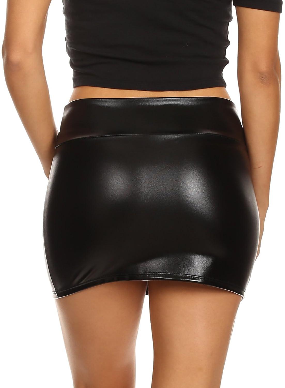 Sakkas Brillante metálico líquido Mirada mojada Minifalda Kaie de la Mujer: Amazon.es: Ropa y accesorios