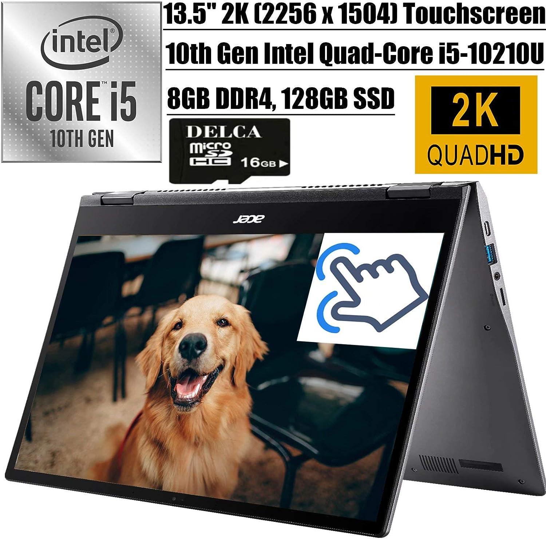 "Acer Chromebook Spin 713 2020 Latest 2-in-1 Laptop I 13.5"" 2KIPSTouchscreen I Intel Quad-Core i5-10210U(> i7-8550U) I 8GB DDR4 128GB SSD I BacklitKB USB-C Chrome OS + Delca 16GB Micro SD Card"