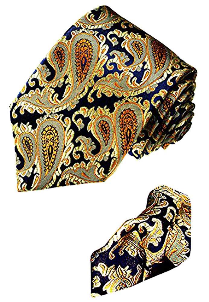CDM product LORENZO CANA - Luxury Italian 100% Silk Tie Hanky Set Navy Blue Gold - 1202501 big image