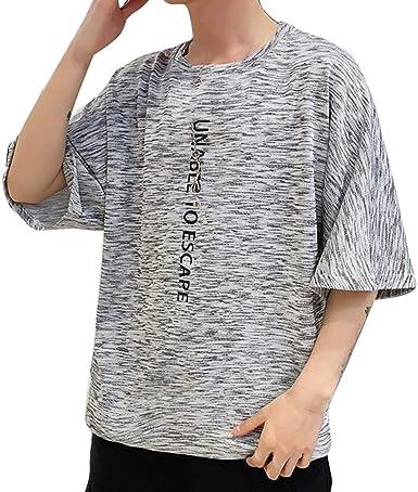 Oliviavan Camiseta de Manga Corta para Hombre,Verano Moda Tendencia Hombre Impresión de Letras Suelto y cómodo Cuello Redondo Manga Corta Camisas Urbanas Hombre: Amazon.es: Ropa y accesorios
