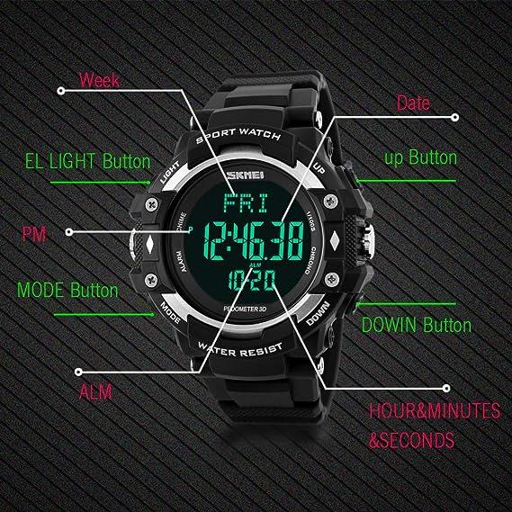 JewelryWe Reloj Deportivo de Salud Watch Recordatorio Podómetro, Medición de la Frecuencia Cardíaca, Seguimiento de Calorías, 5ATM Impermeable Reloj de ...