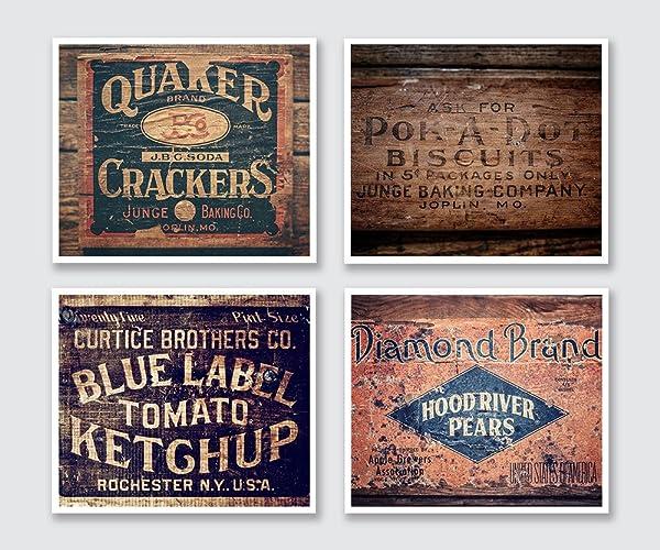 Amazon.com: Country Kitchen Wall Art Set of 4 8x10 Prints. Farmhouse ...