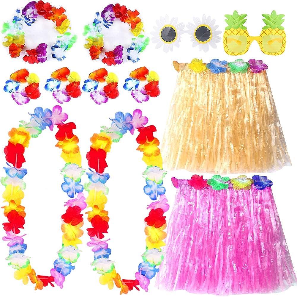 Outee 12 Pcs Grass Skirt Hawaiian Hula Skirt Hawaiian Outfits for Women Hawaiian Grass Skirts for Adults Kids Luau Party Decorations Kit with Hawaiian Flower Necklace Bracelets Headband Pineapple Sung