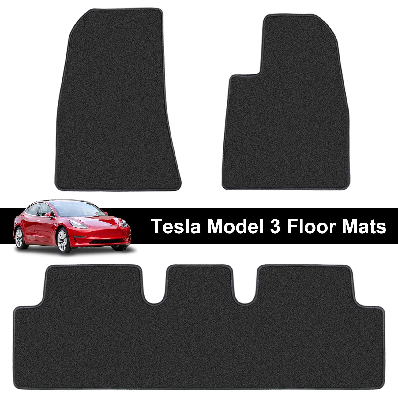 Carsio Black Rubber Tailored Car Floor Mats To fit Tesla Model S 3mm 3pc Set