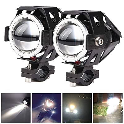 2x Motorcycle Headlights CREE U5 DRL Fog Driving Lamps Lights -HOCOLO Motorcycle LED Bulbs for Cars Bike Boat ATV Front Spotlights High/Dim/Strobe 3 Modes Included 1x Switch 30W 6500K White Color: Automotive