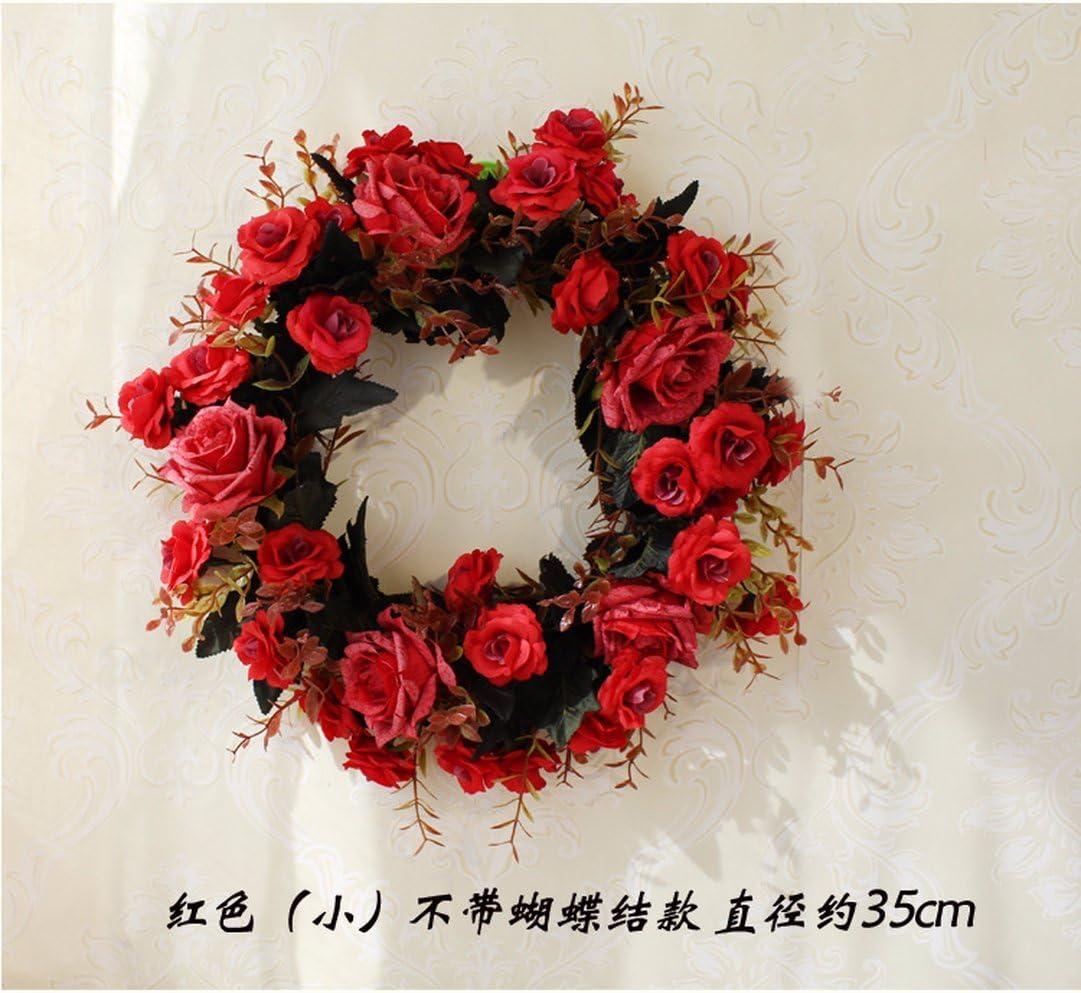 Topdo 1PCS Artificial Flower Wreath Peony Wreath 40cm Front Door Wreath Decor Spring Summer Door Garland for Wedding//Birthday//Living room Decoration Deep Red