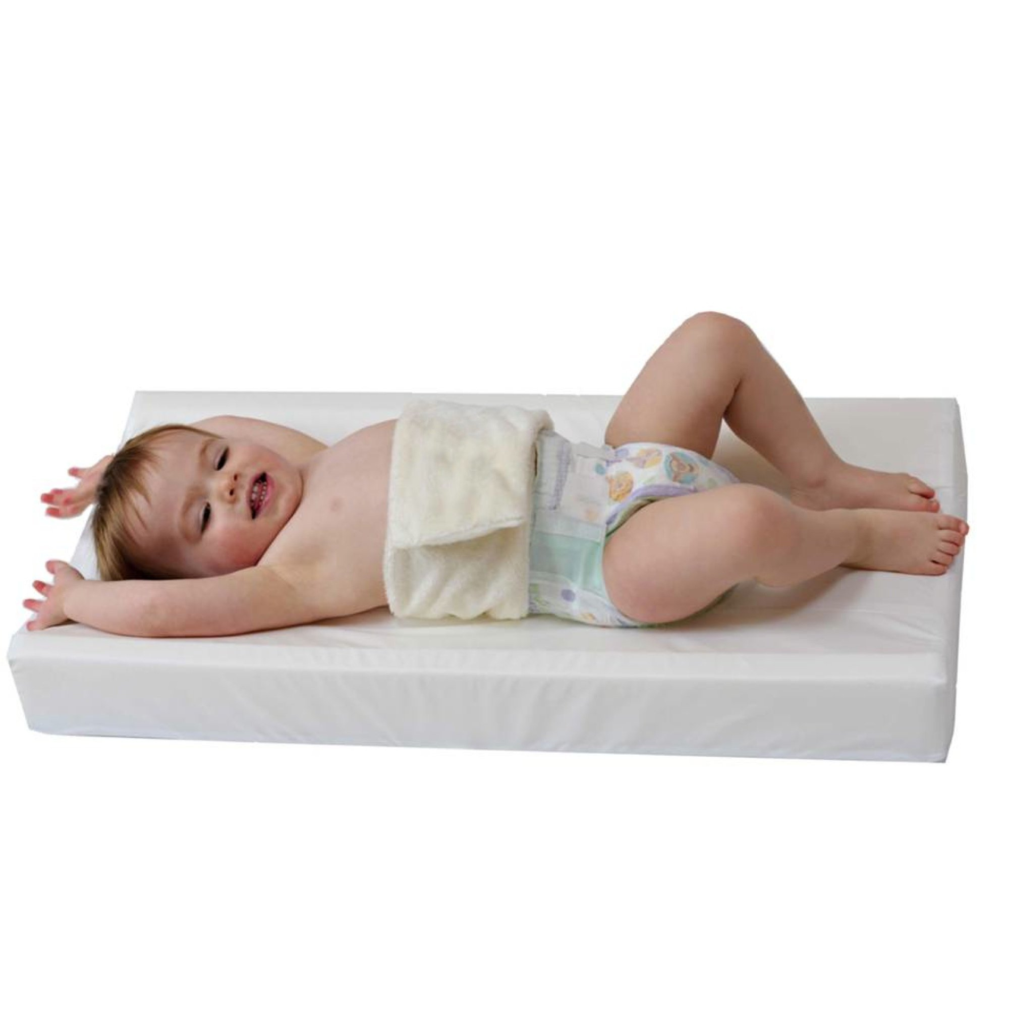 PooPoose Wiggle Free Diaper Changing Pad/ Changing Table Pad, White, 16'' X 32'' X 3.5'' by PooPoose