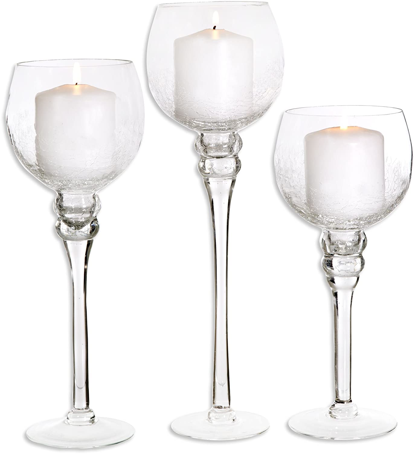 Amazon.com: Palais Glassware Elegant Bougeoir Collection, Set of 3 ...