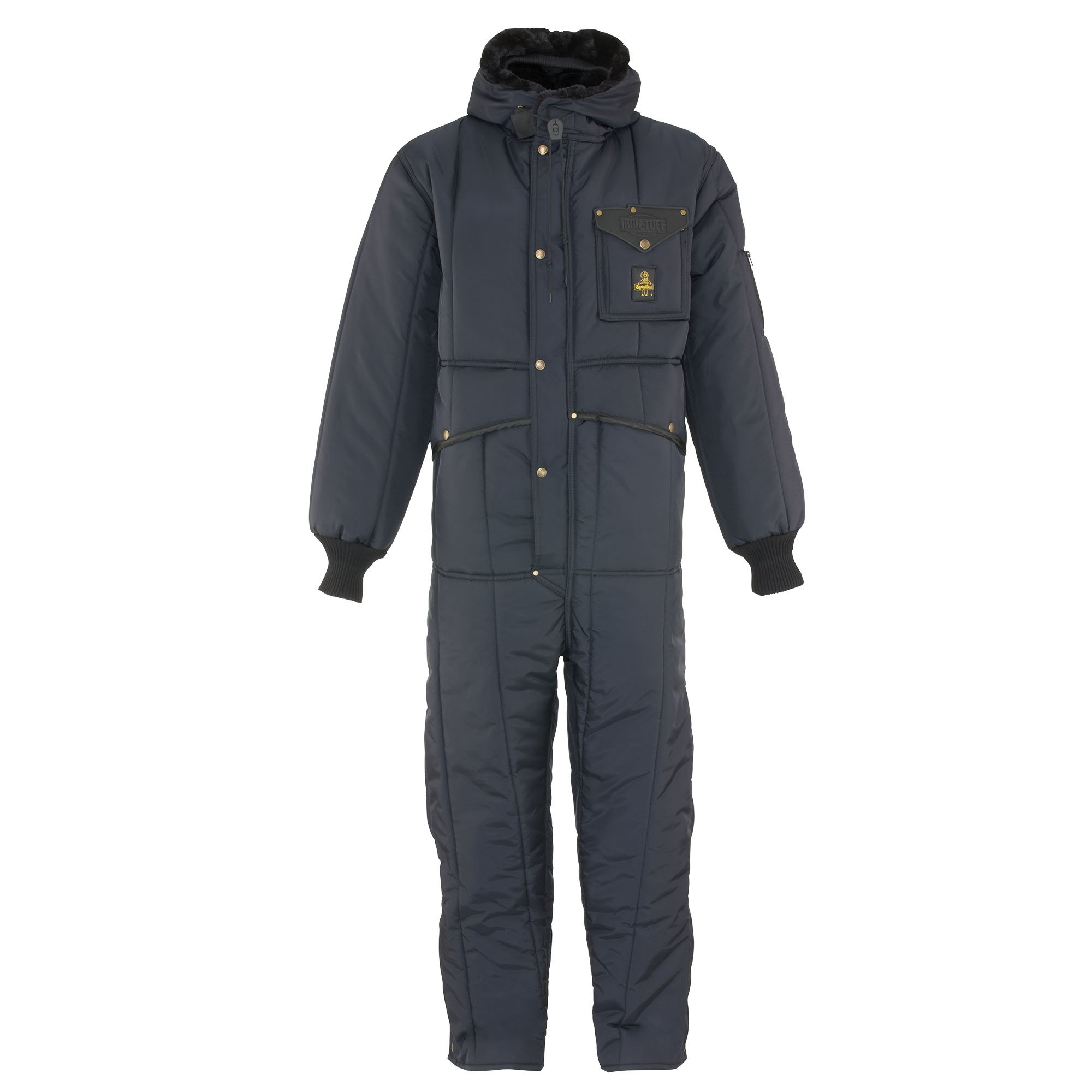 RefrigiWear Men's Iron-Tuff Insulated Coveralls with Hood -50 Extreme Cold Suit (Navy Blue, XL Short)