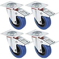 Miafamily Transportwielen, industriële zware wielen, zwenkwielen met rem, blauw, 4 x wielen met rem, 125 mm wielen voor…