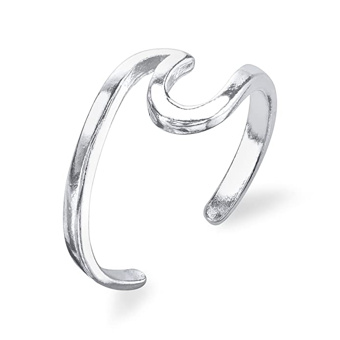 fec8bad10 Amazon.com: Ocean Wave Ring - 925 Sterling Silver with Black Gold Plating -  Adjustable: Jewelry