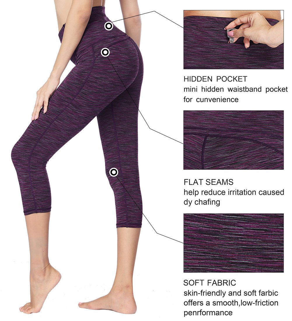 Dragon Fit Compression Yoga Pants Power Stretch Workout Leggings with High Waist Tummy Control (Large, Capri-Purple) by Dragon Fit (Image #5)
