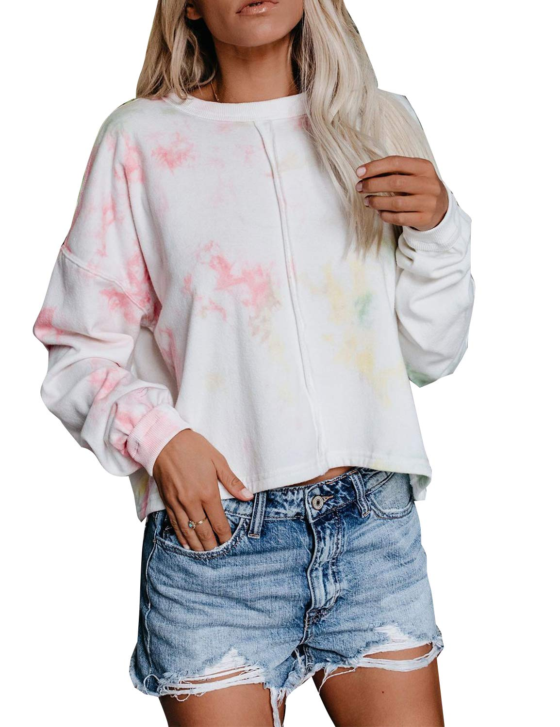 Blooming Jelly Womens Long Sleeve Round Neck Tie Dye Pullover Sweatshirt Top White