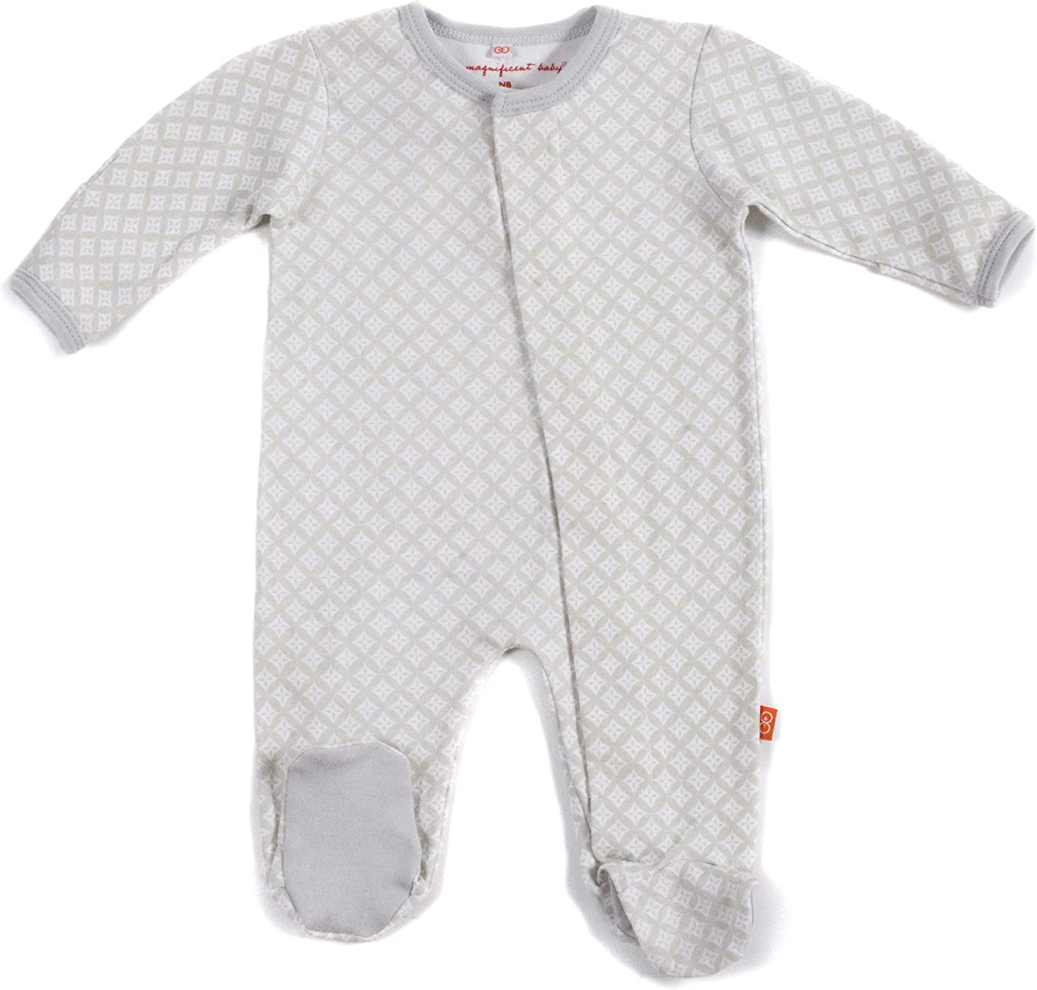 Magnificent Baby Baby Footies, Gray Diamond, 0-3M (8-12 lb)