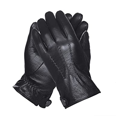 QGHAPPY Guanti touch pelle uomo invernali Outdoor moto pelle (fodera in pile di corallo) Nero