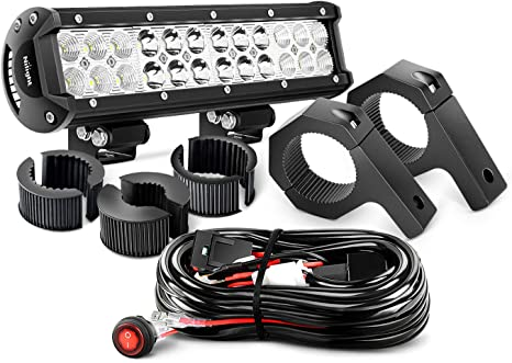 2 Years Warranty Nilight ZH062 12 Inch 72W Spot Flood Combo LED Light Mounting Bracket Horizontal Bar Tube Clamp with Off Road Wiring Harness-2 Leads