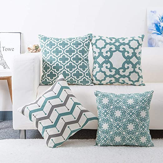 Amazon.com: baibu Pack of 4 Embroidered Throw Pillows Covers