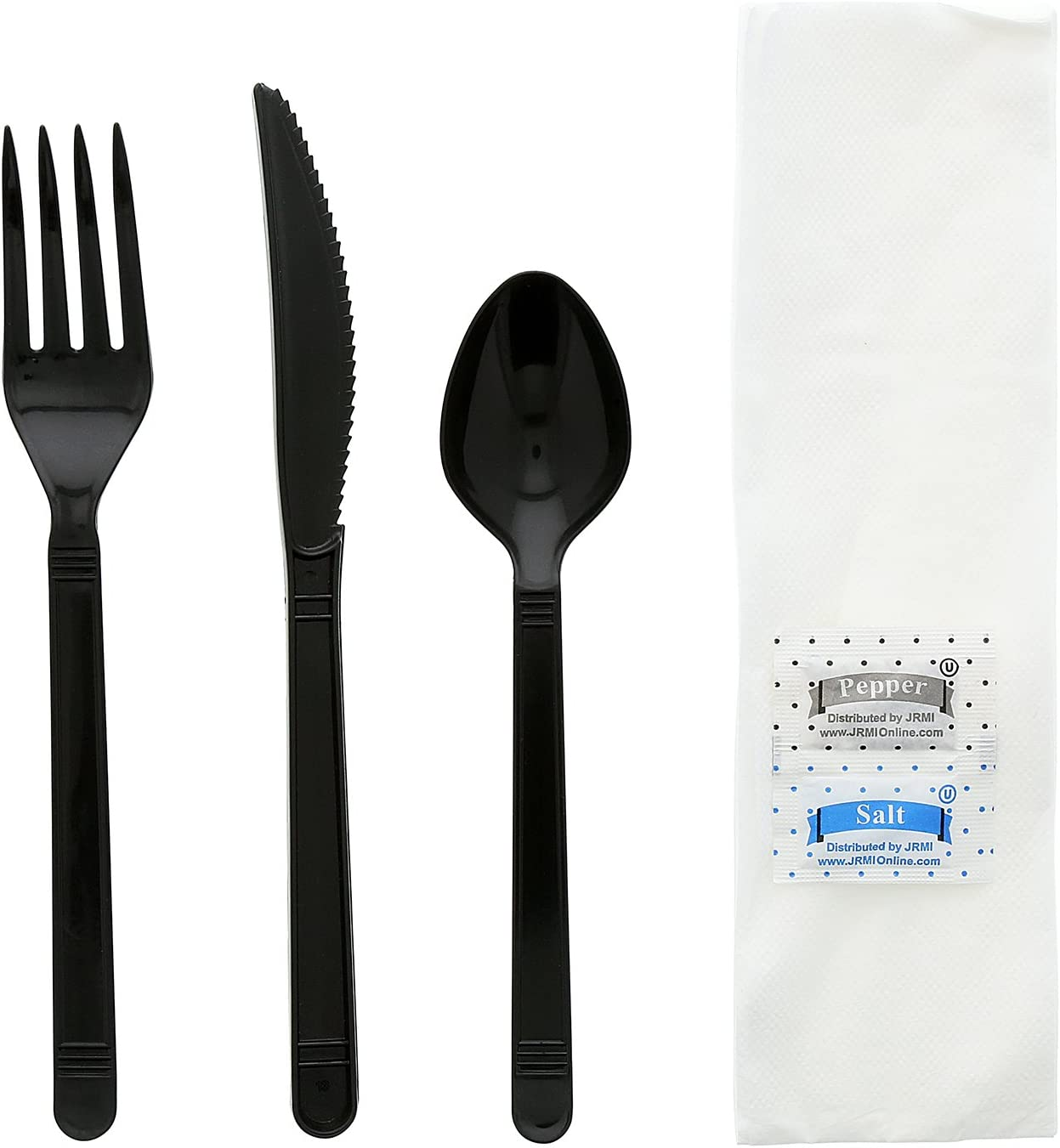 Black Heavy Weight Fork and Teaspoon Knife AmerCare Six Piece Meal Kit with 13 x 17 Napkin Salt and Pepper Packets Case of 250
