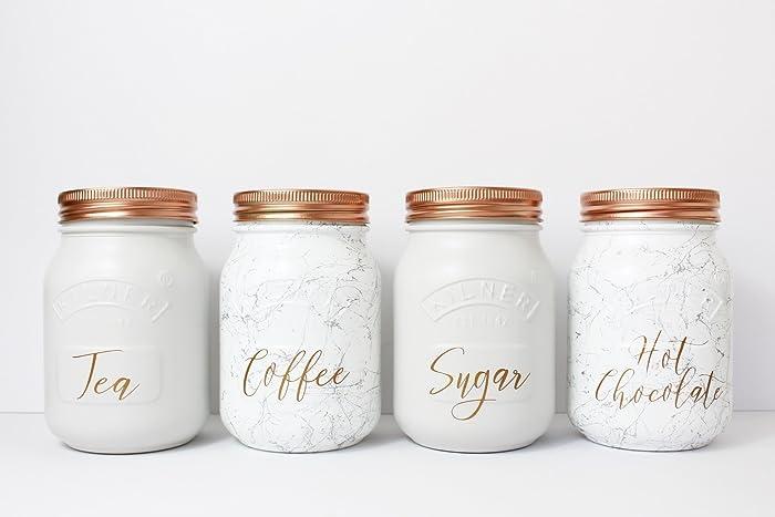 Set Of 4 Grey And Marble Tea Coffee Sugar U0026 Hot Chocolate Canisters  Kilner  Jar