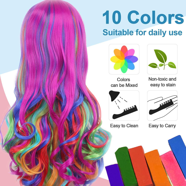 10 Colores Tinte para el Cabello Tiza de Pelo con Tapa, EBANKU Temporal Cabello Tiza Color Peine Coloración de Cabello Tinte no Tóxico Color de Tiza ...