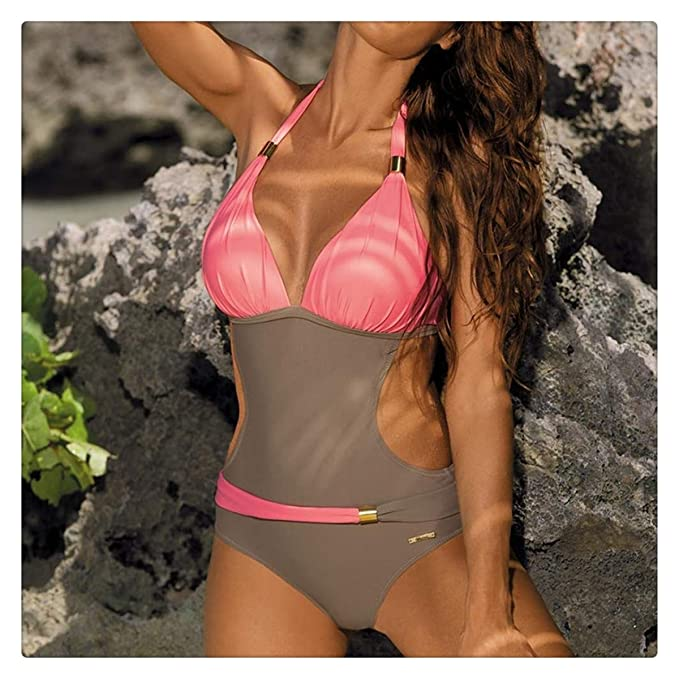 13ab09b0d6 Image Unavailable. Image not available for. Color: Sexy One Piece Swimsuit  Women Swimwear Push Up Female One-Piece Suits Halter Padded Swim
