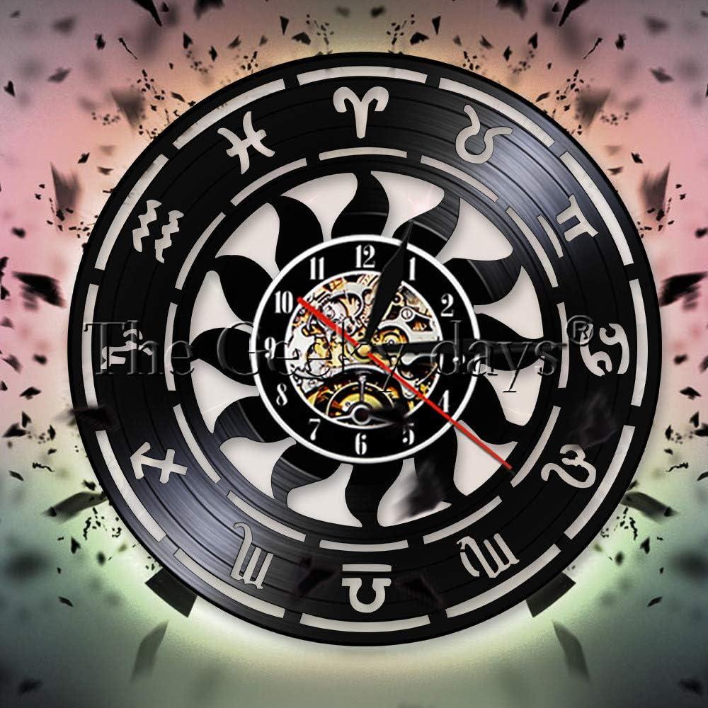 GVC Zodiac Sign Wall Art Reloj Decorativo Reloj de astronomía Colgante 3D Reloj de Pared Diseño Moderno Reloj de Pared de Vinilo Reloj de Pared Decoración para el hogar