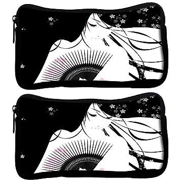 Snoogg Pack De 2 hermosa geisha anime tela funda estudiante pluma lápiz caso bolsa de cosméticos bolsa de monedero: Amazon.es: Oficina y papelería