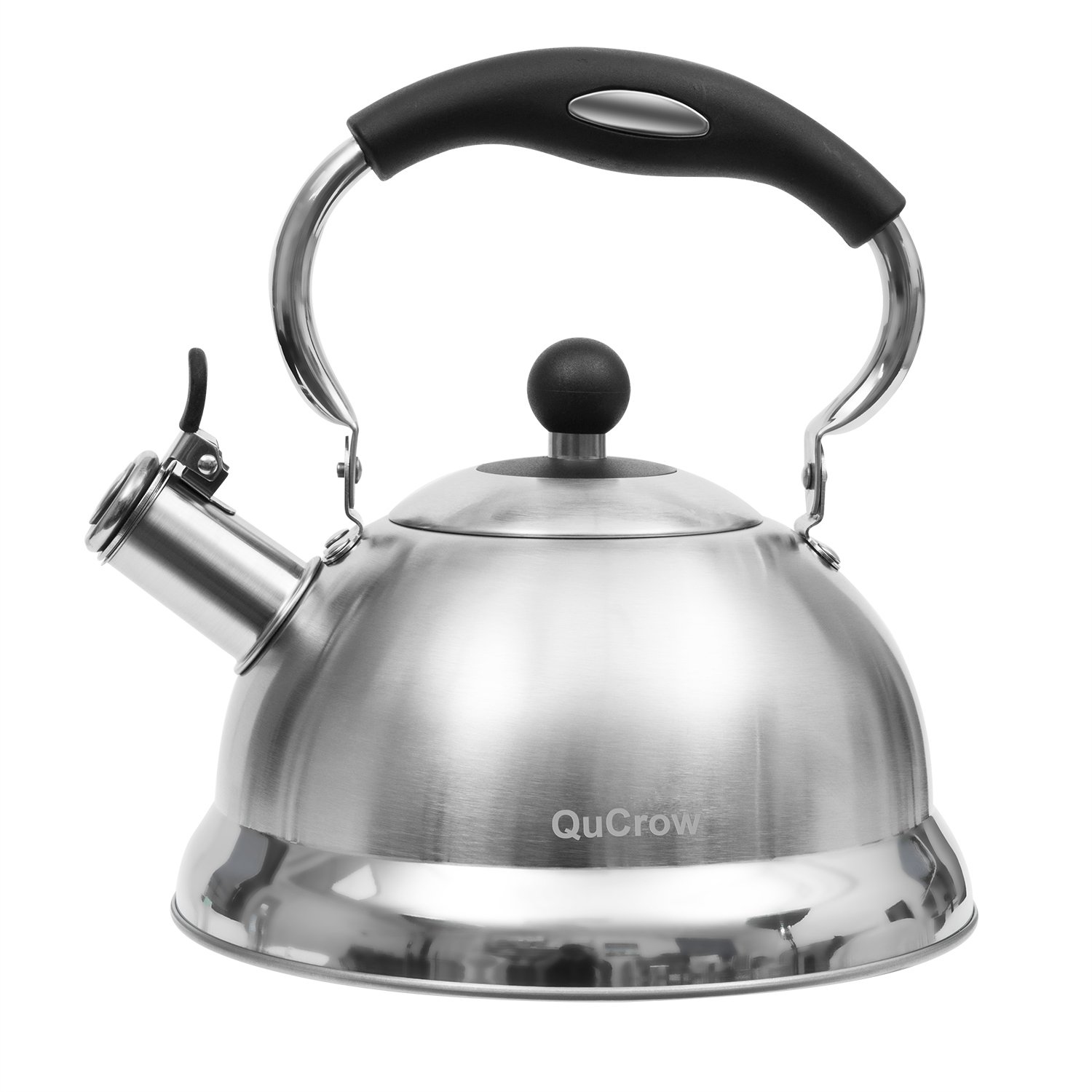QuCrow Whistling Tea Kettle with Heat-Proof Handle, Kitchen Grade Stainless Steel Teapot Stovetops, 3 Quart, Silver by QuCrow