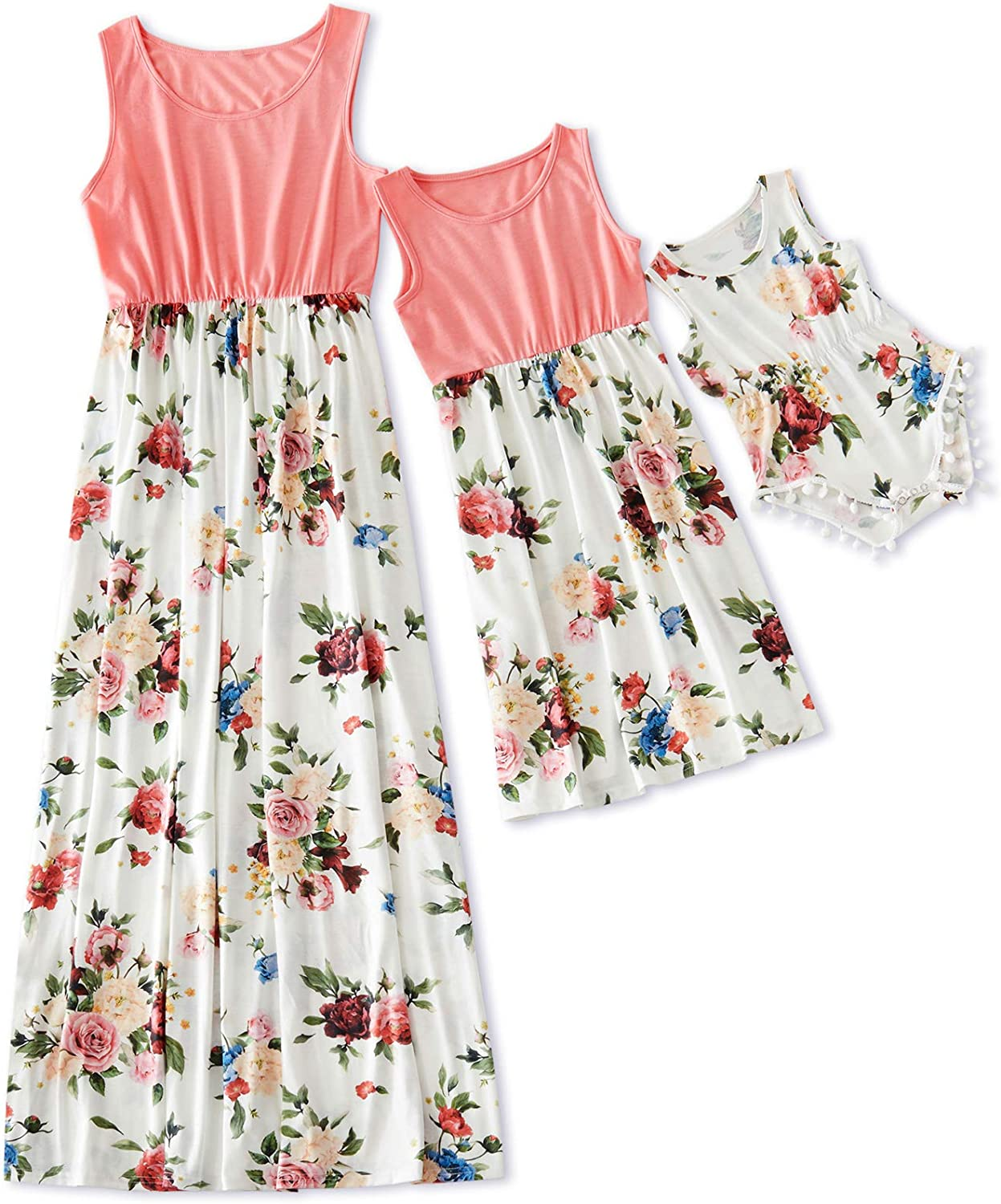 Yaffi Mommy and Me Matching Maxi Dress Floral Printed Sleeveless Dress for Mother and Daughter
