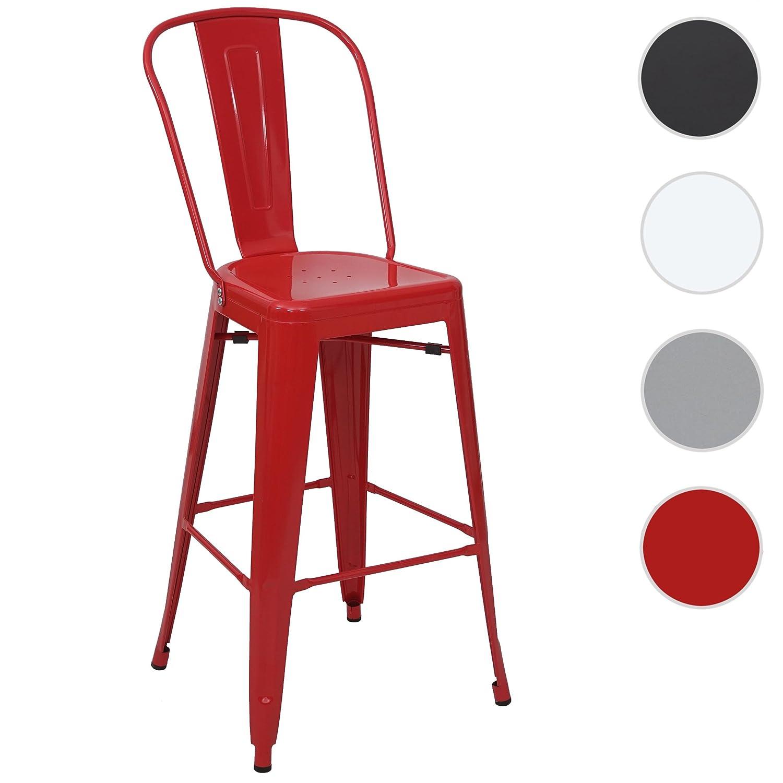 Sedia Sgabello da Bar HWC-A73 Design Moderno Metallo Rosso
