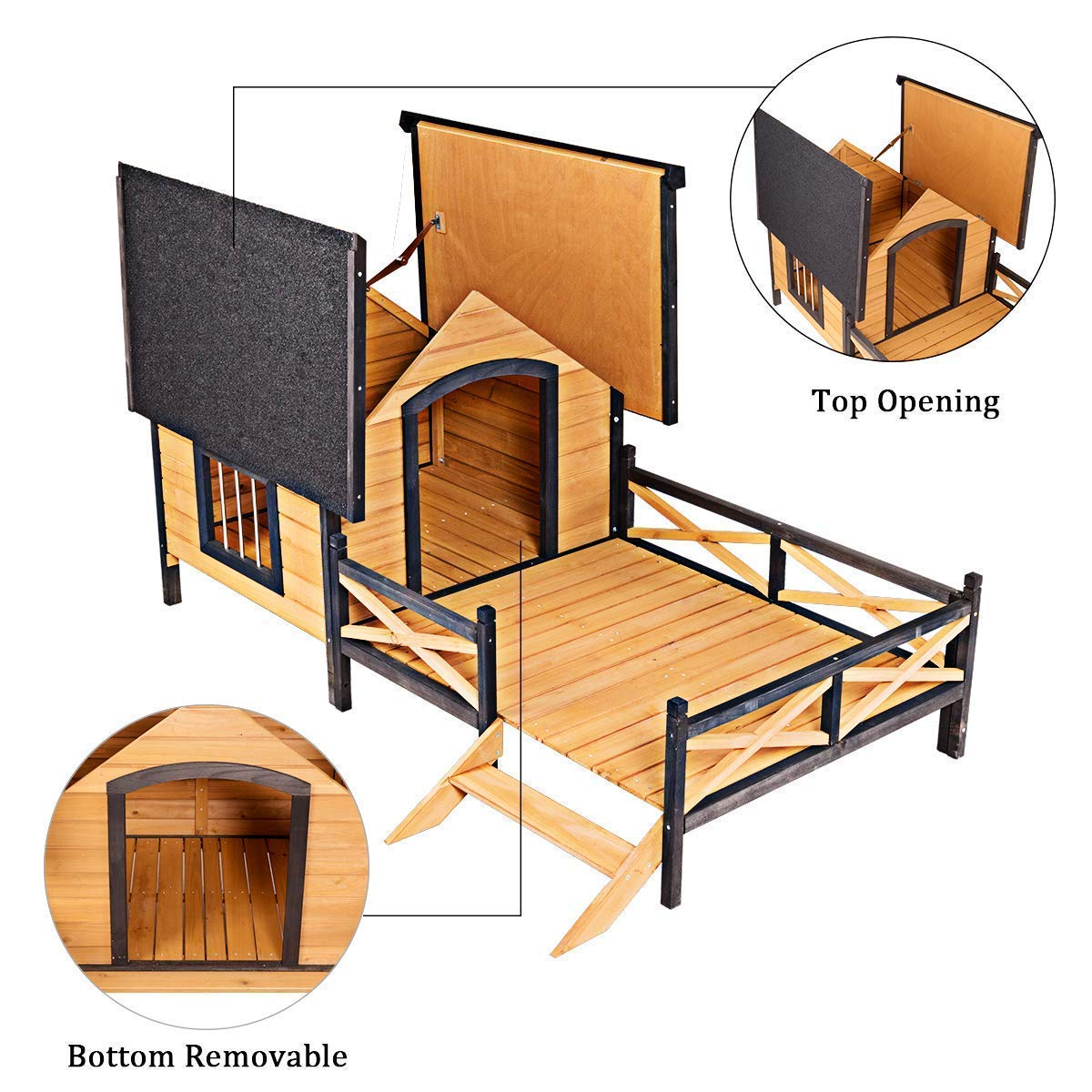 Tangkula Wood Dog House, Cabin Style Large Elevated Weather Waterproof Outdoor Pet Dog House, Lodge with Porch, Spacious Deck for Sunny Nap, Wooden Pet Dog House by Tangkula (Image #8)