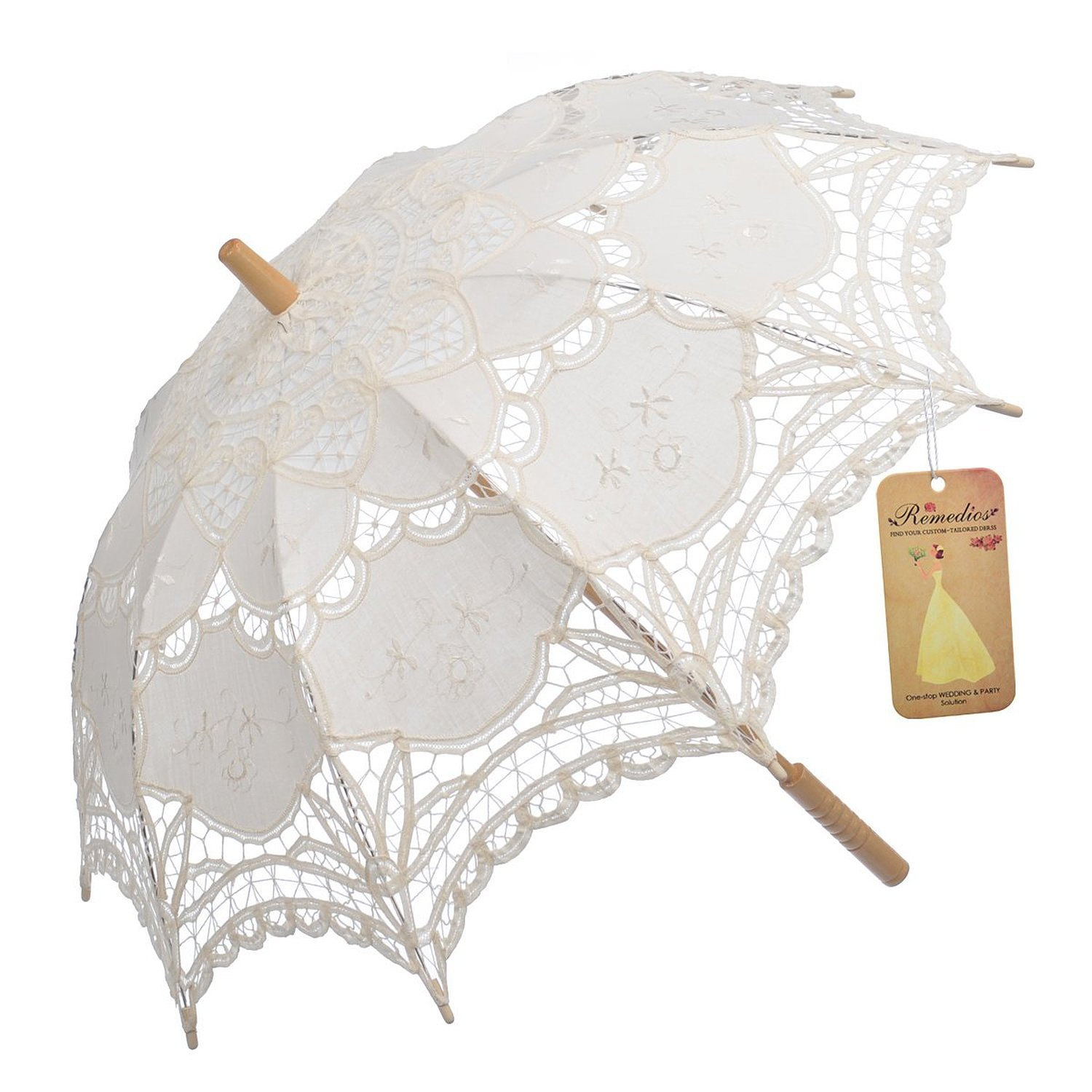 Artwedding Scallop Edge Embroidery Pure Cotton Lace Wedding Umbrella in Beige Onesize