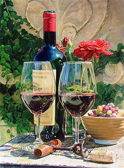 Amazon Com Diy Oil Painting Paint By Number Kit For Kids Adults Beginner 16x20 Inch Two Glasses Of Red Wine Drawing With Brushes Christmas Decor Decorations Gifts Without Frame Some painting is bound to give an unexpected depth, a perfect rendition of the artist's imagination. diy oil painting paint by number kit for kids adults beginner 16x20 inch two glasses of red wine drawing with brushes christmas decor decorations