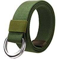 JINIU Canvas Web Belt Double D-ring Buckle for Men Solid Color Ski Military Tactical Father's Day Gift Hiking Outdoor Belts