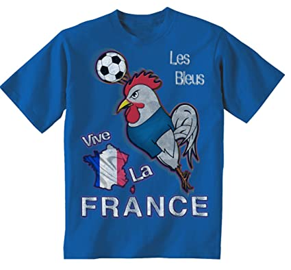 16c5c09f8 France Football Mascot Childrens Boys Girls Kids World Cup T-Shirt  Amazon. co.uk  Clothing