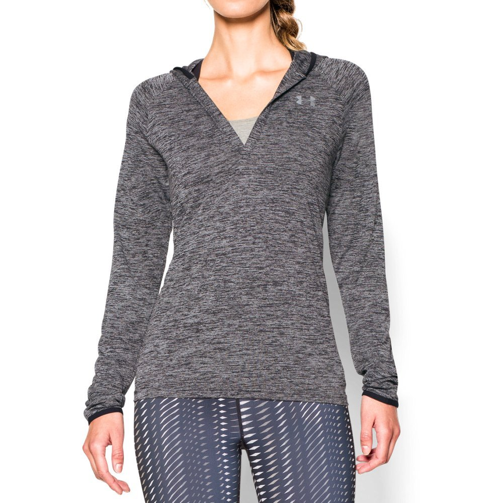Under Armour Women's Tech Long Sleeve Hooded Henley, Black/Metallic Silver, Large