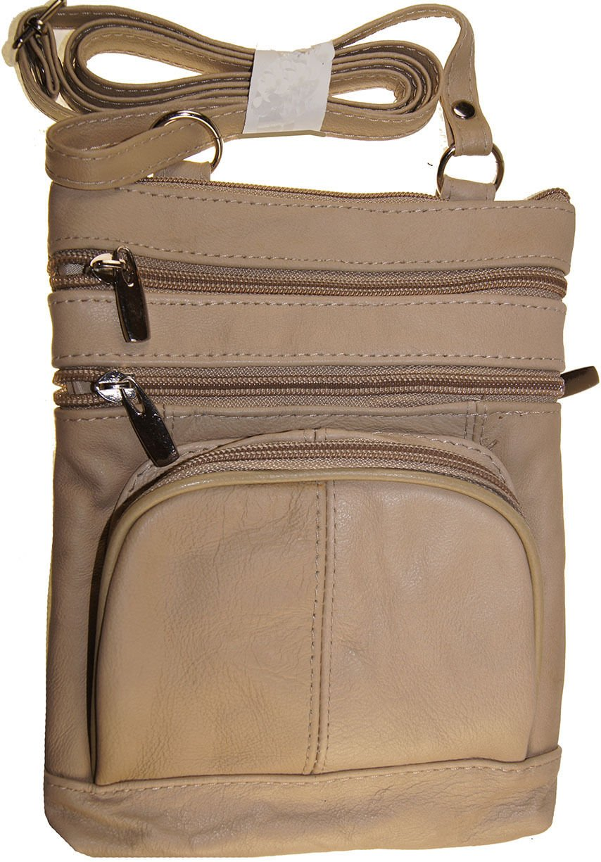 Cream Women And Girls Genuine Leather Cross Body Messenger Handbag, Purse