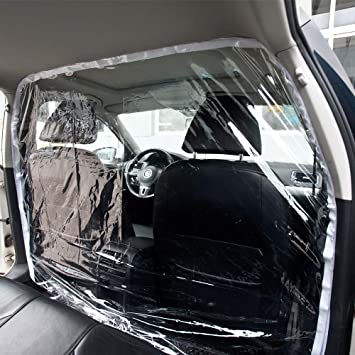 Car Taxi Isolation Film Plastic Anti-Fog Full Surround Protective Cover Cab Front and Rear Row Car Taxi Isolation Film Plastic Anti-Fog Transparent Isolation Membrane Curtain PVC Film Protective Cover