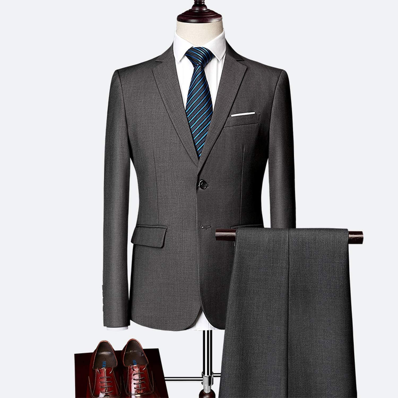 Funlife-Shop Classic Men's Suit Set Solid Color Slim Business Dress Groom Wedding Clothing Tuxedo /2Pcs Red Blazer lHTwX