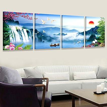 El Salon Cuadros Modernos Pinturas Murales De Sofa Cuadruple Agua - Cuadros-modernos-salon