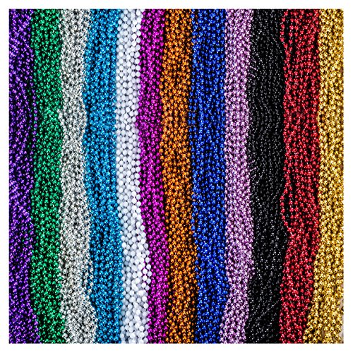 - Funny Party Hats Mardi Gras Beads Necklaces - Party Costumes Accessories 144 Pc (Colorful)