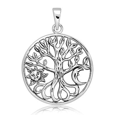 Sol en el árbol de la vida el Colgante Plata 925
