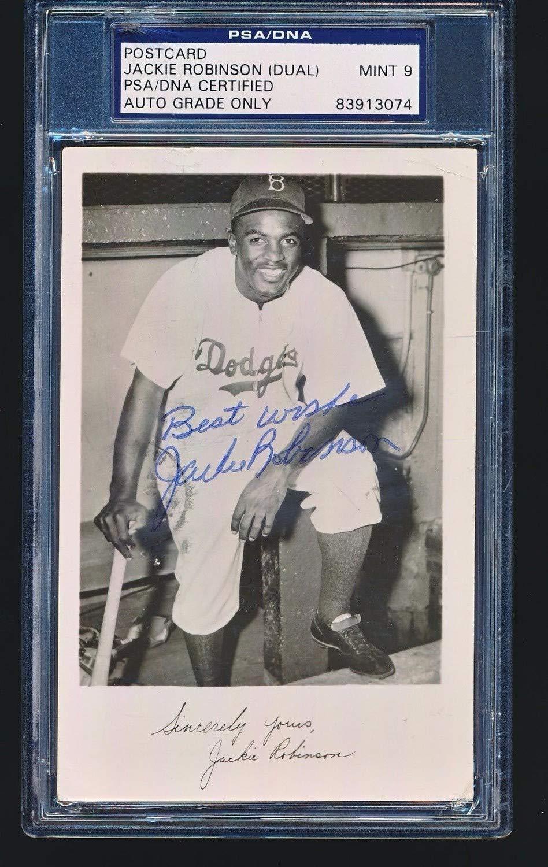 Jackie Robinson Dual Autographed Signed Postcard JSA PSA/DNA Mint 9 Autographed Signed Twice