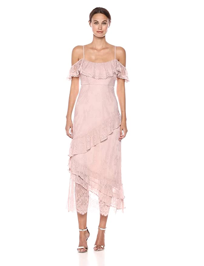 714427c64d7fb0 ASTR the label Women s Marguerite Off The Shoulder Soft Lace Ruffle Maxi  Dress at Amazon Women s Clothing store