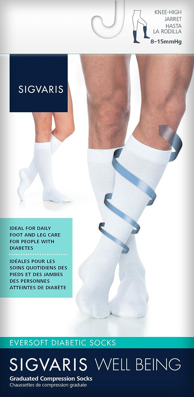 bb6f6d7527 Amazon.com: SIGVARIS EVERSOFT DIABETIC SOCK 160 Calf High Compression Socks  8-15mmHg: Health & Personal Care