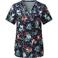 RJDJ home Uniforms Scrubs Women Tops Scrubs Working Uniform T Shirt Print Short Sleeve V-Neck Top Tee Uniforms for…